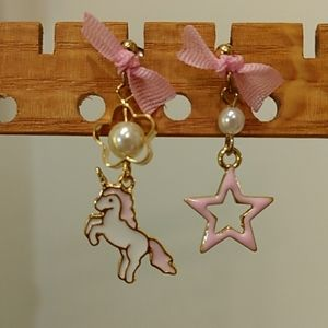 Other - Pink Unicorn and Star Earrings